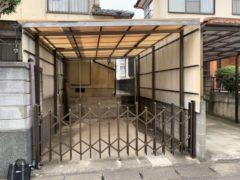 福津市、駐車場波板解体