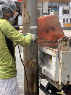 福岡市、看板、鉄柱撤去