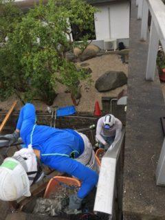 福岡市、鉄骨階段解体